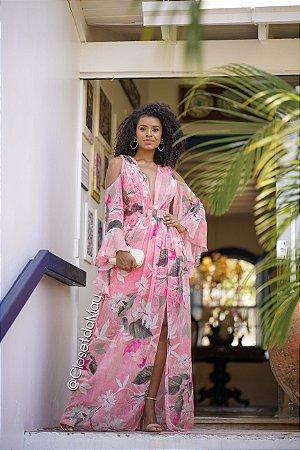 vestido de festa longo estampado manga longa, decote em v, com fenda, bojo, alça, para madrinhas, convidadas