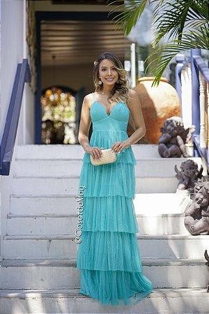 vestido de festa longo lurex decote em V, com babado, bojo alça, para madrinhas, convidadas, aniversariante
