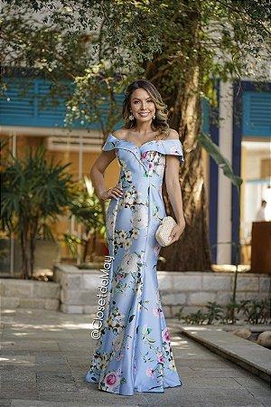 vestido de festa longo estampado, zibeline, ombro a ombro, com bojo, alça, para madrinhas, convidadas