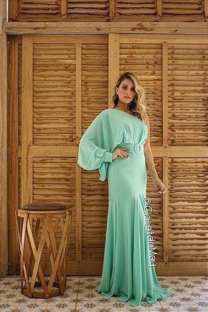 vestido de festa longo manga nula, com bojo, alça, cinto, para madrinhas, convidadas