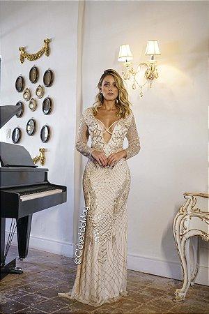 vestido de festa longo manga longa tule bordado, pedraria , decote em V tira cruzada, para madrinhas, convidadas, formanda