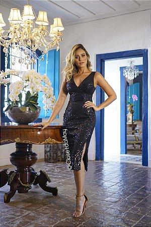 vestido de festa midi paete, decote em V, para madrinhas, convidadas, formanda, aniversariante