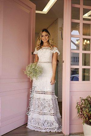 Vestido Longo Off White Ombro A Ombro Para Casamento Pré Wedding Batizado Formatura Festa