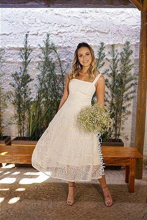 Vestido para casamento civil de renda midi, alças em renda, batizado, casamento simples, culto ecumênico