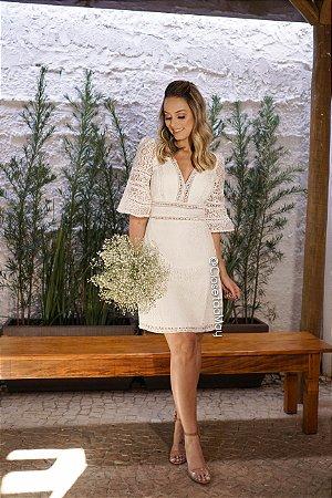vestido de noiva com manga, em renda, decote em v, para casamento, batizado
