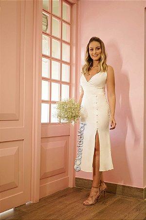 vestido de noiva midi, com alças finas transpassado, para casamento civil, batizado
