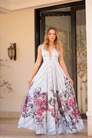 vestido longo de festa estampado em crepe acetinado, com decote baixo e detalhe em tiras na cintura, para casamento, formatura, festas