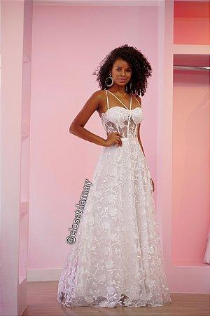vestido de noiva longo tule em renda, com bojo, para casamento civil, cerimônia religiosa