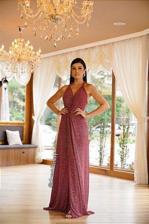 vestido longo em lurex com fenda e decote v, para convidadas, formandas, eventos em geral