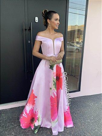 vestido longo em crepe acetinado com alças ombro a ombro floral, para madrinhas, formandas, convidadas