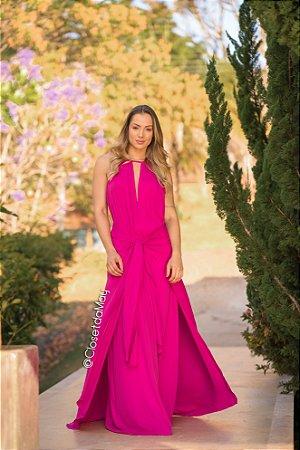 vestido longo de festa, gola alta com detalhe em amarração, para casamentos, formatura, aniversarios