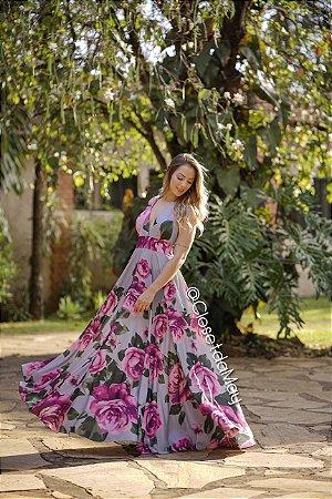 vestido longo frente unica, decote v, estampado, para casamentos, aniversários