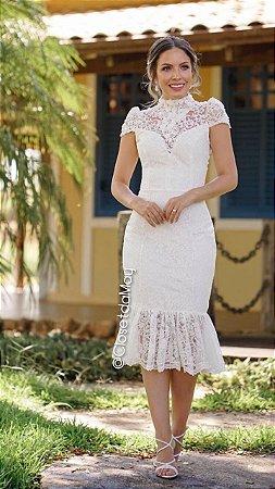 vestido de noiva midi em renda, gola alta e mangas curtas, para casamento civil, cerimônia religiosa, celebrações, renovação de votos