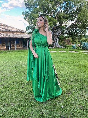 vestido de festa longo em crepe de seda, nula manga, com detalhes em tecido solto, para madrinhas, convidadas, formandas