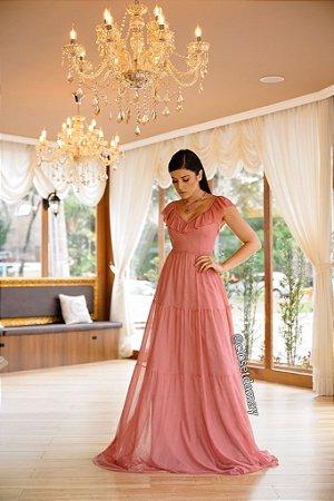 vestido de festa longo, alças em babado, decote em V, para madrinhas, convidadas