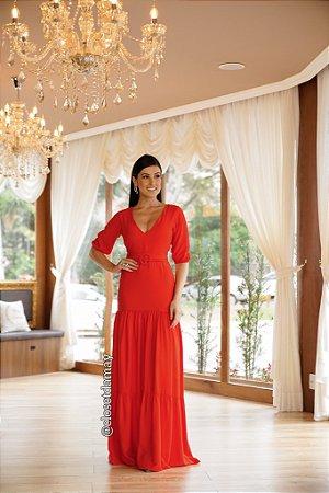 vestido de festa longo, mangas 3/4, decote, cinto fixo, para madrinhas, convidadas