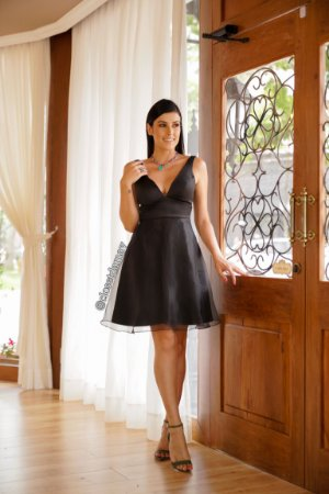 vestido de festa midi, com decote em V trançado nas costas, para madrinhas, debutantes, formandas