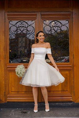 vestido de noiva, ombro a ombro, curto com saia em organza, para casamento civil, renovação de votos