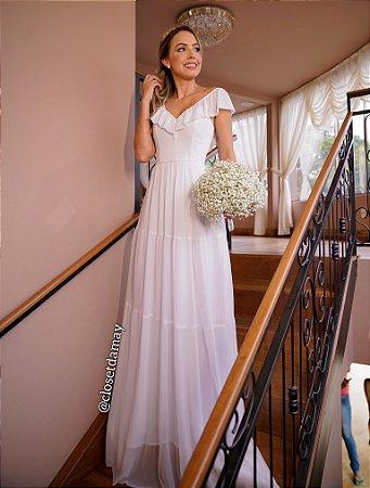 vestido de noiva longo, alças em babado, decote em V, para casamento civil, cerimonia de renovação de votos