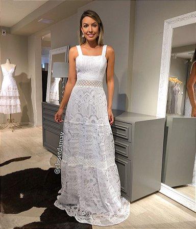 vestido de noiva longo, em mix de renda, alças largas, para casamento civil, ensaio de pre wedding