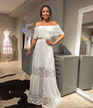 vestido de noiva longo, ombro a ombro, em renda, para casamento civil, pre wedding, batizado