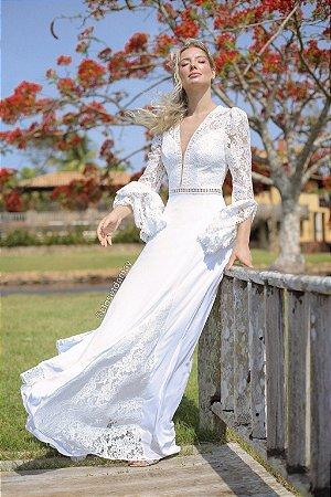Vestido Isabel, de noiva longo, com mangas longas, decote, em mix de renda, para casamento civil, casamento no campo