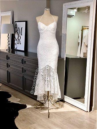 vestido de noiva midi, modelo sereia, renda, alças finas, casamento civil, renovação de votos, batizado