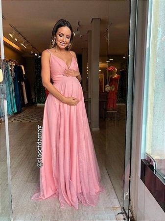 vestido de festa longo, decote v, alças finas, para ensaio gestante, comemorações, madrinhas de casamento, chá de bebê