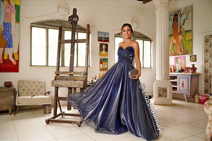 vestido de festa longo, tomara que caia, decote coração, em lurex, para formandas, debutantes