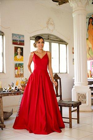 vestido de festa longo, decote v, alças finas, modelo princesa, para formandas, debutantes, madrinhas de casamento