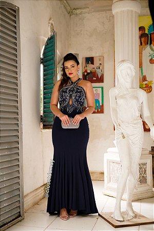 vestido de festa longo, bordado em pedrarias, gola alta, modelo sereia, para madrinhas de casamento, formandas