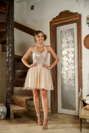 vestido de festa curto, frente unica, decote, bordado no busto, para formanda, madrinha, debutante