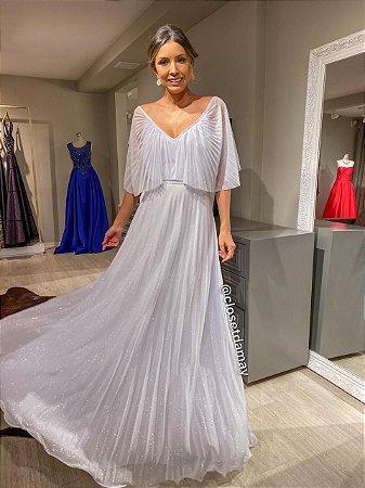 vestido de noiva longo com mangas, plissado em tule com gliter, para casamento civil, renovação de votos