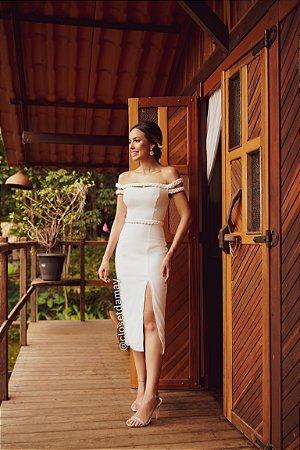 vestido de noiva, ombro a ombro, midi, com fenda, detalhe trançado, para casamento civil, renovação de votos