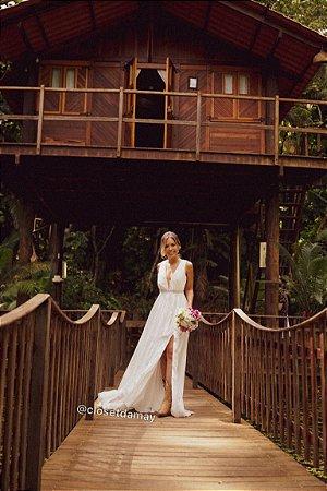 vestido de noiva longo, decote nas costas, fenda, para casamento civil, casamento na praia, renovação de votos