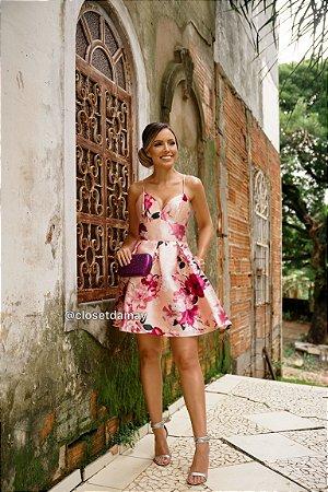 vestido de festa curto, decote, alças finas, estampado, em zibeline, para formandas, debutantes