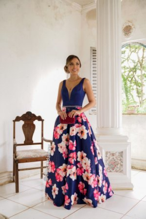 vestido de festa longo, decote em tule, estampado, em zibeline, para formandas, madrinhas, debutantes