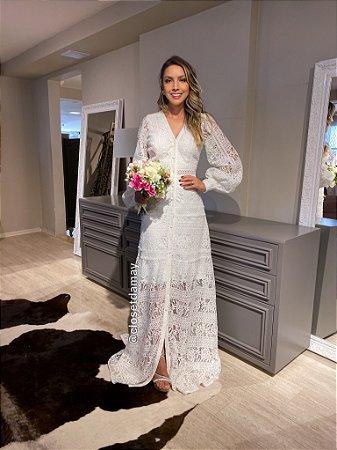 vestido de noiva longo, mangas longas, em renda, para casamento civil, renovação de votos, batizados