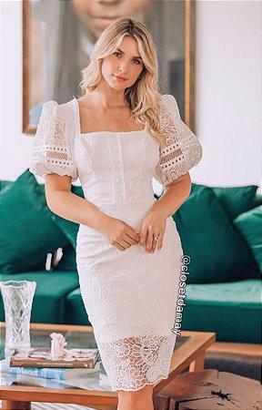 vestido branco de noiva midi, mangas bufantes, em renda, para casamento civil, renovação de votos