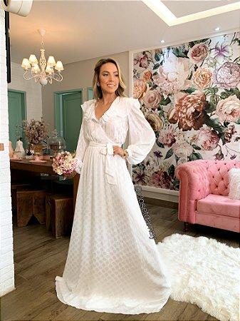 vestido de noiva longo, com mangas longas, traspassado, com babado, para casamento civil, renovação de votos