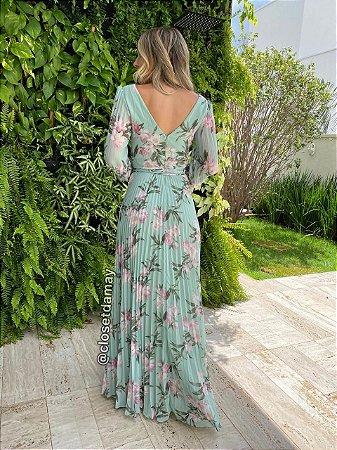 vestido de festa longo, mangas longas, plissado, decote v, estampado, para madrinhas, formandas