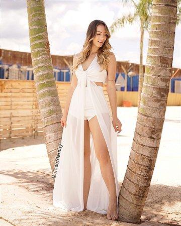 Vestido longo hotpants com fenda