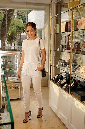 Conjunto de malha canelada, calça e blusa de manga curta, para momento esportivo e social