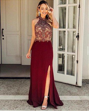 Vestido longo bordado e fenda , para casamentos e festas de gala