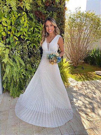 Vestido longo , tule de poá com decote e lateral em tule, para casamento civil e casamento religioso