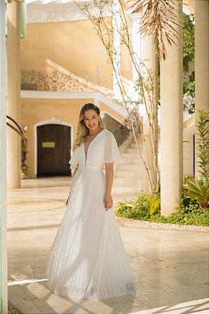 Vestido longo com manga  e saia em tule de poá plissado, para casamento civil e casamento religioso