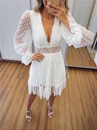 Vestido midi em tule de poáe renda, decote V, manga longa, para casamento civil e noivado