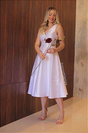 Vestido midi em zibeline, com recorte no busto, para casamento civil e noivado