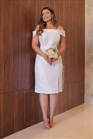 Vestido midi em zibeline ombro a ombro, casamento civil e noivado