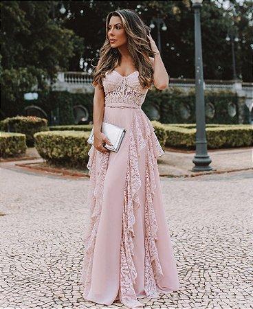 Vestido longo sem alças , com bojo em meia taça, renda e crepe de seda, para casamentos e formatura